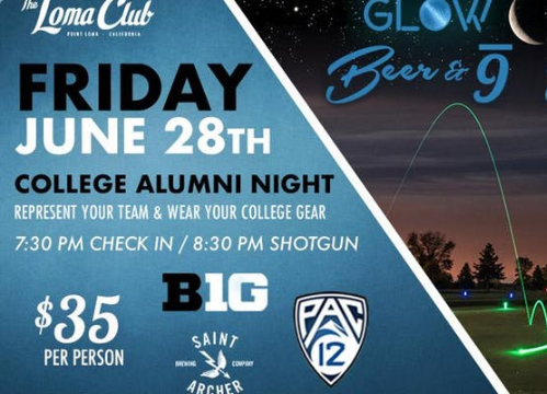 College Alumni Night Glow Golf w/ Saint Archer Brewing